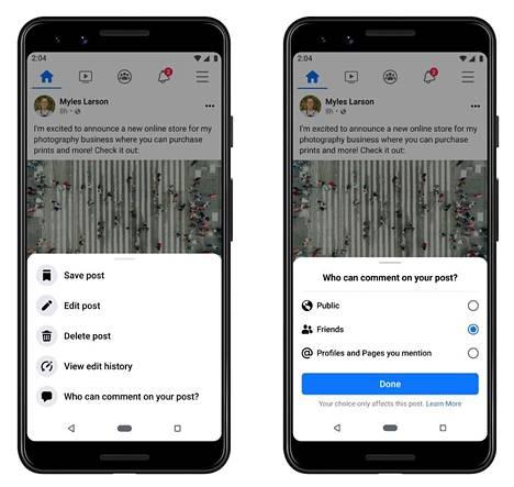 Facebook antaa valita, ketkä voivat kommentoida julkisia päivityksiä.
