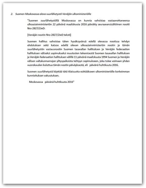 Näin kirjoitti Suomen Moskovassa oleva suurlähetystö Venäjän ulkoministeriölle. Lue koko teksti kokonaisuudessaan jutun lopusta.
