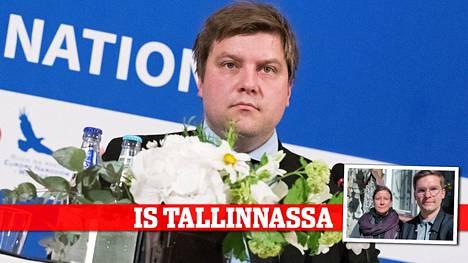 Olli Kotro Oikeistopopulististen puolueiden liittouma -kokouksessa 14. toukokuuta.