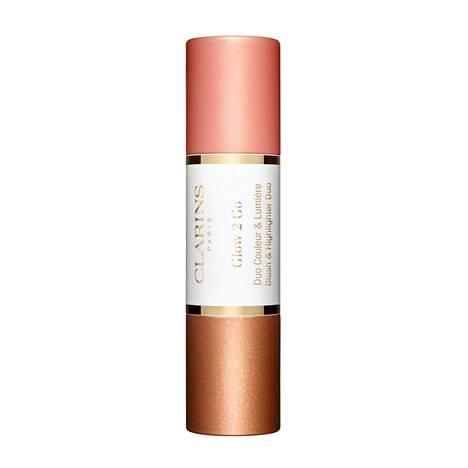 Clarins Glow 2 Go Blush & Highlighting Duo, sävy Golden Peach, 33 €.