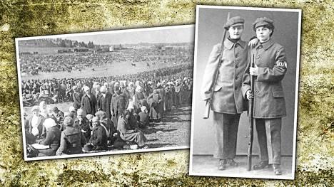 Vasemmalla vankeja Fellmanin pellolla Lahdessa. Oikealla Helena Aalto ja Elli Vuokko.