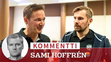 Suuntaansa vuosikaudet etsinyt TPS on saanut Ilkka Paanaselta (vas.) ja Mikko Kodisojalta taloudellista tukea avokätisesti.