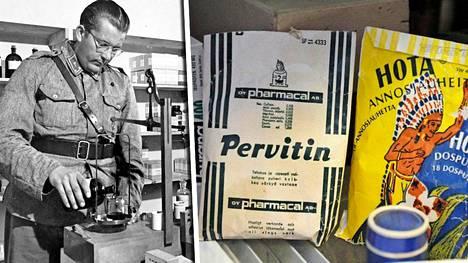 Sota-aikana heroiini oli rintamalla yleisessä käytössä. Pervitin-nimistä lääkejauhetta myytiin Suomessa 1980-luvulle asti. Reseptistä oli toki pudotettu metamfetamiini pois.