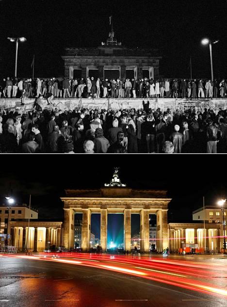 Brandenburgin portti yöllä 9.11.1989 ja nykyisin. Tänä viikonloppuna tällä paikalla järjestetään muurin murtumisen muistojuhlallisuudet.