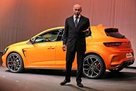 Renault'n johtaja Thierry Bollore esitteli merkin uuden Megane RS:n. Nelipyöräohjaus kuuluu pakettiin.