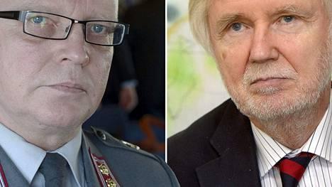 Everstiluutnantti Torsti Sirén ja ulkoministeri Erkki Tuomioja.