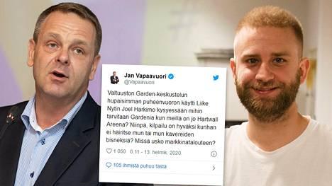 Jan Vapaavuori (kok) (vas.) kyseenalaisti Joel Harkimon puheita Helsingin kaupunginvaltuuston kokouksessa.