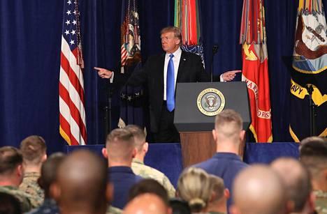 Donald Trump ilmoitti amerikkalaisjoukkojen lisäyksestä Afganistanissa.