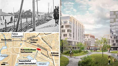 Vuoden 1918 kuvassa vankileiri on kuvattu Messukyläntieltä eli nykyiseltä Kalevantieltä. Suunnitellulla Kalevanrinteen kerrostaloalueella toimi aikaisemmin kaatopaikka.
