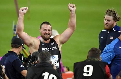 Tomas Walsh riemuitsi MM-finaalin päätteeksi sunnuntaina.