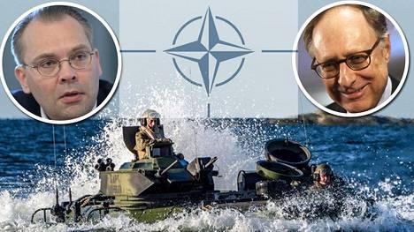 Naton varapääsihteeri Alexander Vershbow (oik.) sanoi, että Suomi saisi sotilasliitolta apua. Puolustusministeri Jussi Niinistön (ps) mukaan Naton varapääsihteeri ei luvannut Naton rientävän Suomen avuksi.