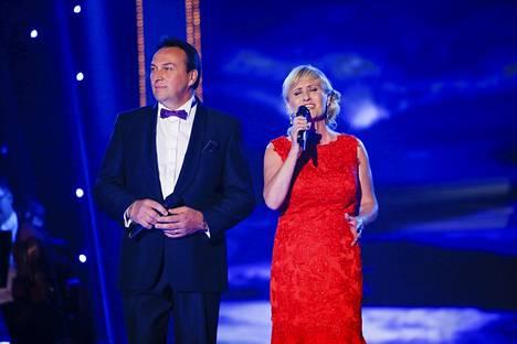 Matti Korkiala ja Kirsi Rissanen Tangomarkkinoiden 30-vuotisjuhlakonsertissa vuonna 2014.