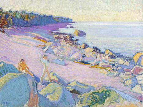 Poikia rannalla on Magnus Enckellin Suursaaressa viettämien kesien satoa. Vuonna 1910 hänen värinsä olivat helakoituneet kirkkaiksi.