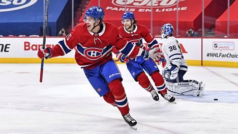 Jesperi Kotkaniemi (vas.) pelasi Montrealissa kolme kautta.