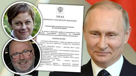 Paula Lehtomäki ja Eero Heinäluoma pääsivät Vladimir Putinin palkittavien listalle.