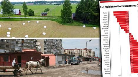Suomi maksaa jonkin verran, mutta myös saa. Esimerkiksi Bulgaria taas on selkeämmin saamapuolella.