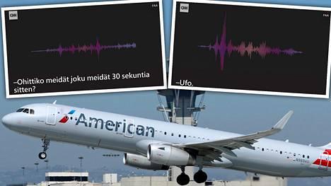 Yksi havainnon tehneistä oli American Airlinesin Airbus A321 -lentokoneen lentäjä. Kuvan kone on nousemassa Los Angeles kansainväliseltä lentokentältä 29.3.2018.