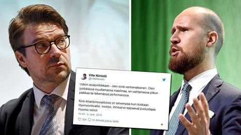 Vihreiden kansanedustaja Ville Niinistö saattoi arvostella Twitterissä vihreiden nykyistä puheenjohtajaa Touko Aaltoa.