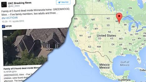 Viisihenkinen perhe löydettiin torstaiaamuna kuolleena kotoaan Greenwoodista, Minnesotasta.