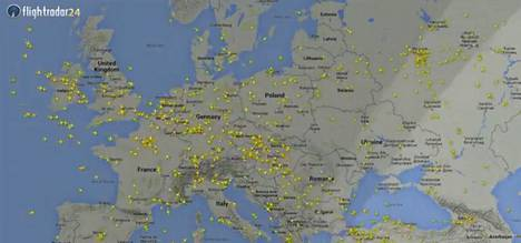 Puolitoista Vuorokautta Euroopan Taivaalla Lentokoneet Matkaavat