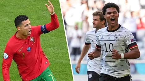 Portugalin Cristiano Ronaldo (vas.) avasi maalihanat Saksaa vastaan. Loppuen lopuksi parhaiten riemuitsi kuitenkin Serge Gnabry ja muu Saksan joukkue.