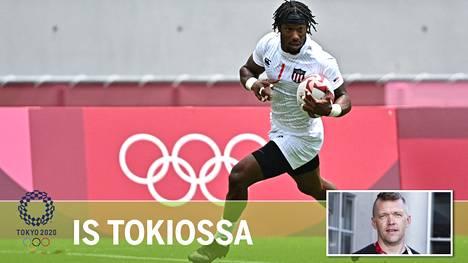 USA:n Carlin Isles juoksi Kenian puolustajilta karkuun ja teki maalin olympiaturnauksen ottelussa.