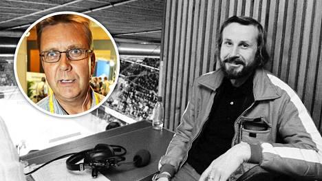 Jääkiekko oli yksi Raimo Häyrisen leipälajeista. Kuvassa selostaja Helsingin jäähallin katsomossa 1974. Pertti Tapola (pieni kuva) työskenteli Häyrisen kanssa Ylellä.