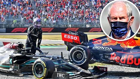 Red Bullin johtoportaaseen kuuluva Helmut Marko (pieni kuva) moittii Lewis Hamiltonia.