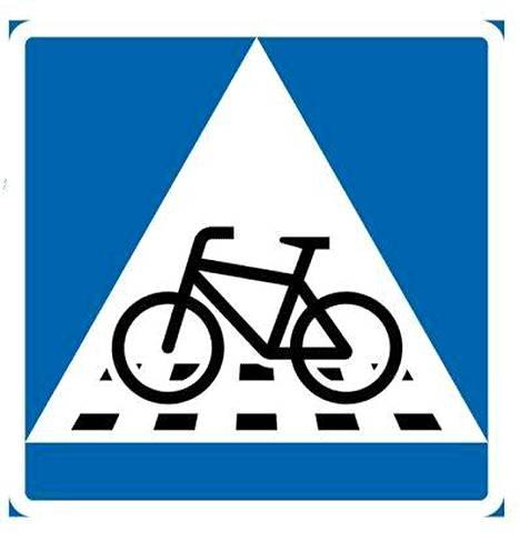 """Tällainen """"Väistämisvelvollisuus pyöräilijän tienylityspaikassa"""" -liikennemerkki otetaan käyttöön 1.6.2020."""