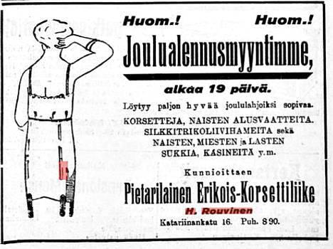 Lehti-ilmoitus 1920-luvulta.