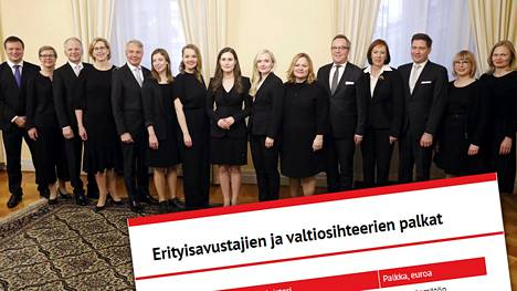 Pääministeri Sanna Marinin (sd) hallitus ryhmäkuvassa. Kuvasta puuttuvat Tytti Tuppurainen, Anna-Maja Henriksson, Mika Lintilä ja Timo Harakka.