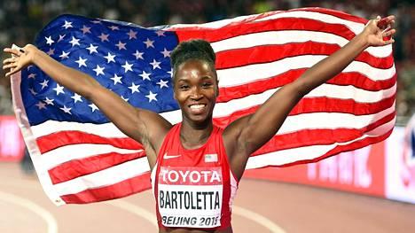 Tianna Bartoletta voitti pituushypyn kultaa Pekingin MM-kisoissa.