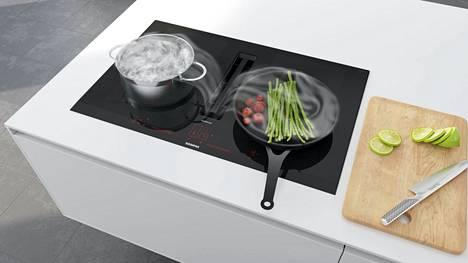 Keittotasoon integroitu liesituuletin on tyylikäs ja tehokas.