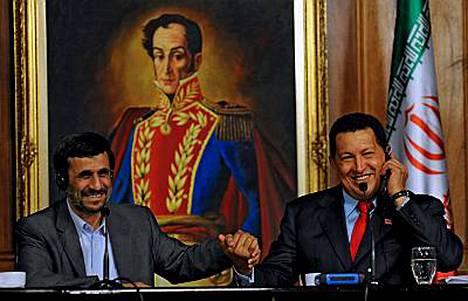 Ahmadinejad ja Chavez ovat kavereita Yhdysvaltoja vastaan.