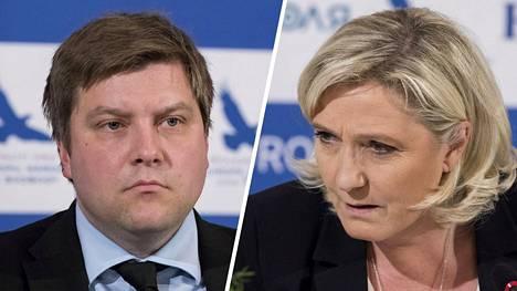 Perussuomalaisten Olli Kotro ja Marine Le Pen Tallinnassa 14. toukokuuta.