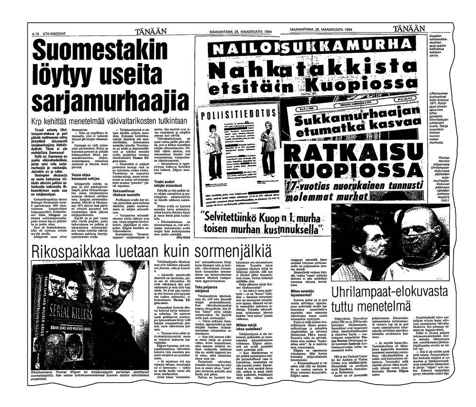 Huhtikuun 1994 lehtileikkeessä kerrotaan Suomestakin löytyvän useita sarjamurhaajia. Kainalojutussa kontekstointi on tehty Uhrilampaiden kautta.