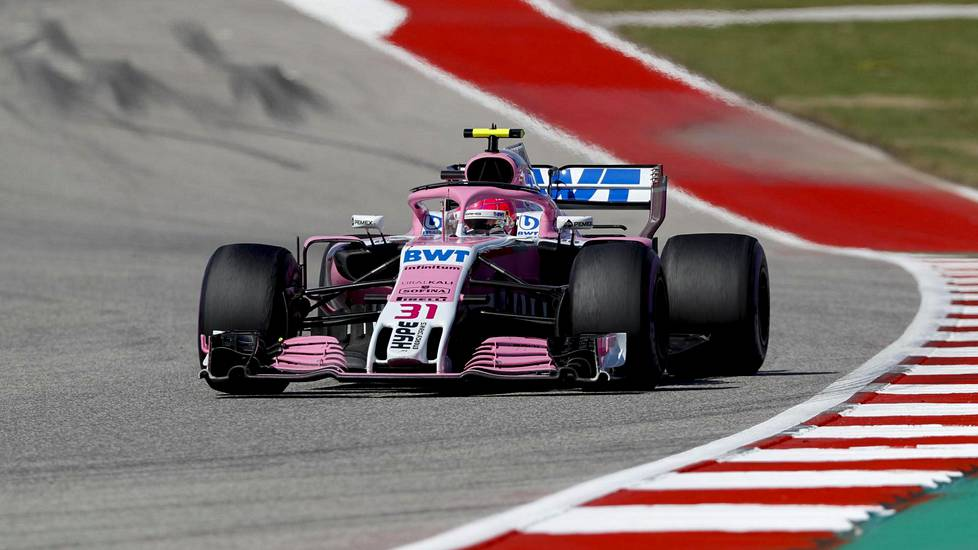 Force Indian Esteban Ocon Austinin radalla.