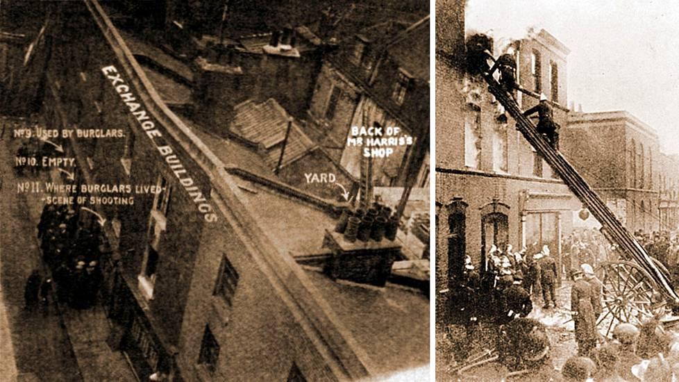 Surullisen kuuluisa jalokiviliikkeen ryöstö tapahtui joulukuussa 1910. Ryösötn yhteydessä surmattiin kolme poliisia. Palomiehet tutkivat piiritetyn talon jäännöksiä. Yksi heistä sai surmansa seinän romahtaessa.