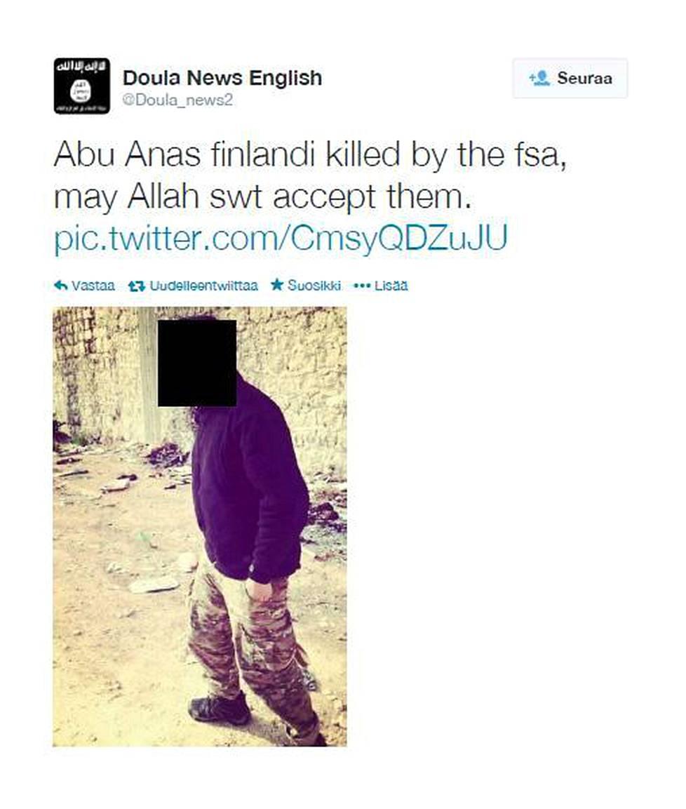 Abu Anas al-Finlandin kuolemasta ilmoitettiin Isisiin linkittyvällä Twitter-tilillä helmikuussa 2014.