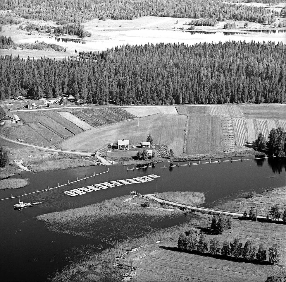 Itä-Suomen maisemia 1960-luvulta. Itse tilan lisäksi Kääriäinen otti usein myös laajempaa kuvaa, jotta koko ympäristö näkyisi.