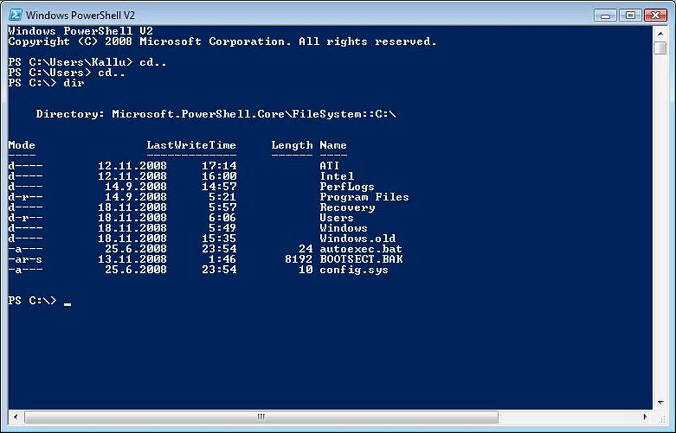 Windows 7:n PowerShell on komentorivin kaltainen ohjelma.