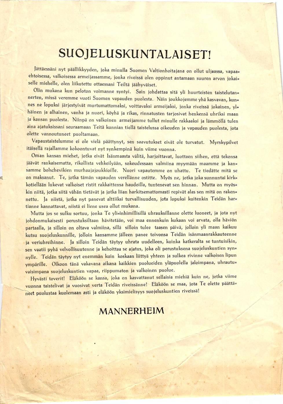 Mannerheimin erosi ylipäällikkyydestä toukokuussa 1918. Näin hän kirjoitti suojeluskuntalaisille.