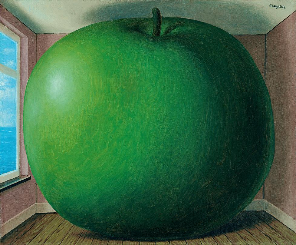 """""""Kuunteluhuone"""" 1950-luvun lopulta. Maalauksesta on myös aikaisempi versio joka on nykyään yhdysvaltalaisessa museossa. Kuten monet taiteijat Magritte teki usein töistään eri versiota."""