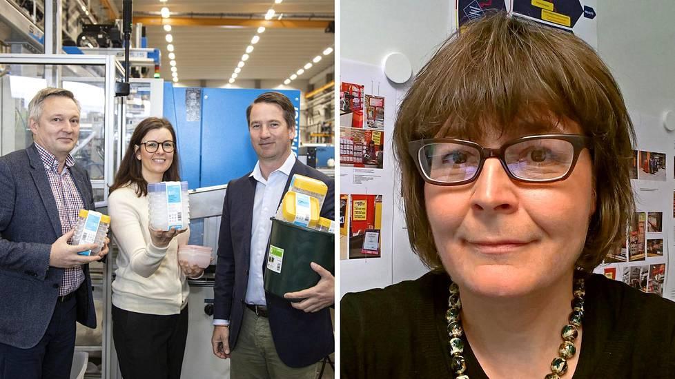 Vasemmalla tehtaanjohtaja Tom Ståhlberg, markkinointijohtaja Hanna Kukkonen ja toimitusjohtaja Alexander Rosenlew. Oikealla Jäänallen suunnittelija Laura Huhtela-Bremer.