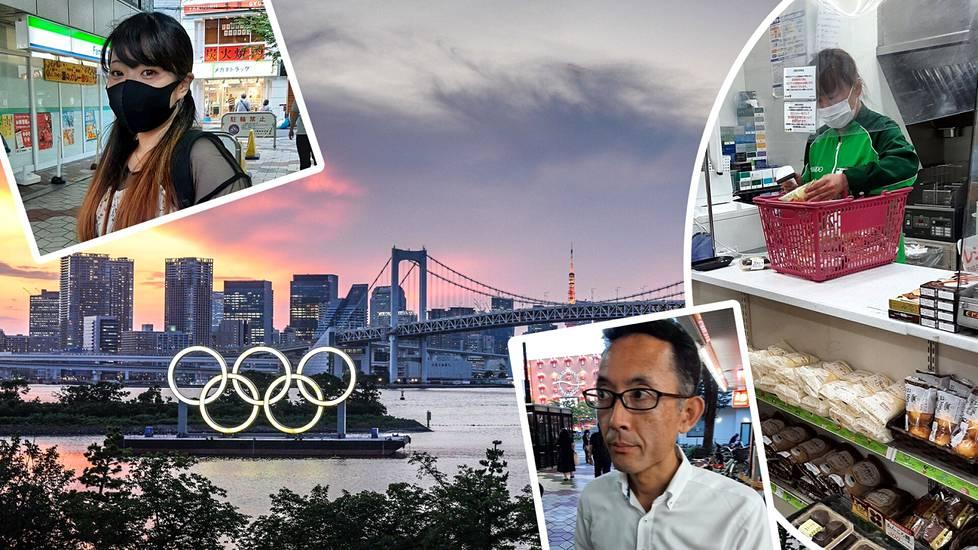 Tokiolaisen minimarketin kassatyöntekijä Saito Miyuki ei olisi halunnut olympialaisia järjestettävän Tokiossa. Kasinotyöntekijä Nana Morozumi puolestaan asettuu olympialaisten kannalle.