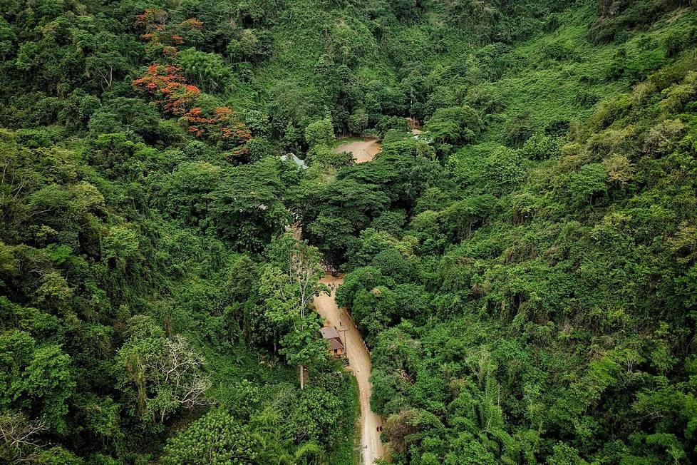 Ilmakuvassa näkyy Tham Luangin luolalle vievä tie. Luolan suuaukko on puiden peitossa.