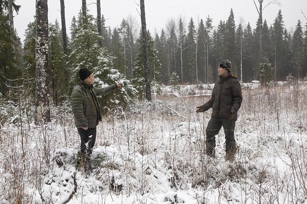Biologi Timo Lehesvirta (vas.) vastaa kestävän metsätalouden kehityksestä metsäyhtiö UPM:ssa. Tiedot hakkuuaukolle levinneistä uusista lajeista ovat tervetulleita uutisia yhtiön sidosryhmäsuhdejohtaja Sami Oksalle.