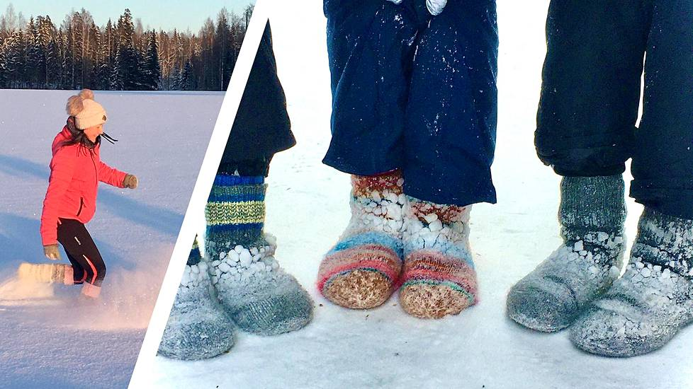Pia Jaakkola tekee villasukkalenkkejä toisinaan yli kymmenen tuttavansa kanssa.