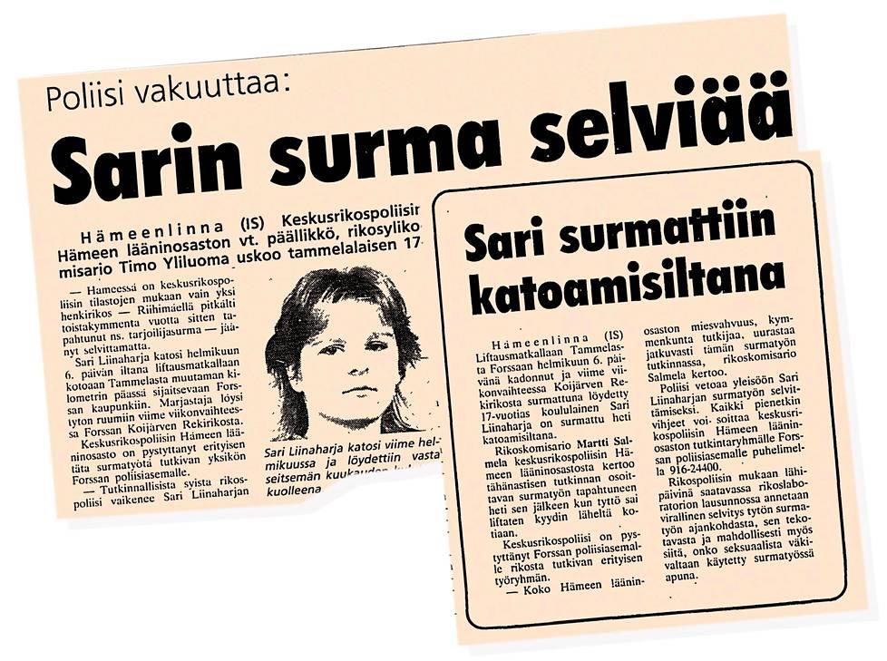 Kristiina Liinaharja toivoo, että jonain päivänä Sarin henkirikos selviäisi. Ilta-Sanomien leikkeitä syksyltä 1987.