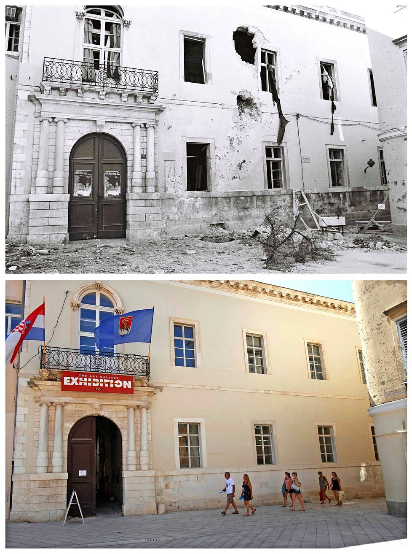 Luka Modricin idyllinen kotikaupunki Zadar oli sodan näyttämönä 25 vuotta sitten. Mustavalkokuvissa näkyy tuhoja vuodelta 1991.